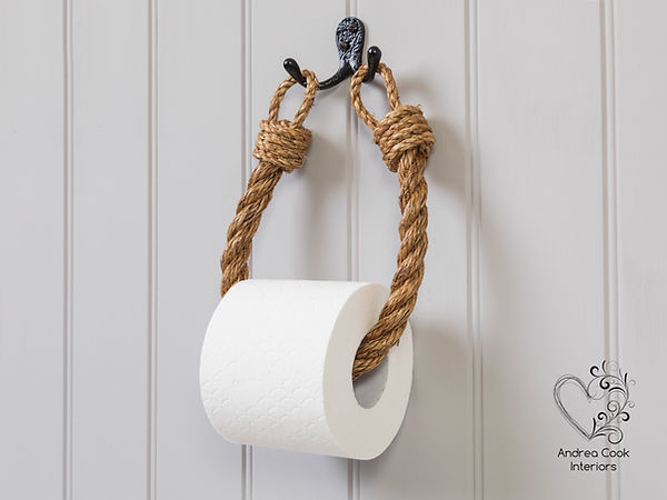 Manila rope toilet roll holder and black wall hook