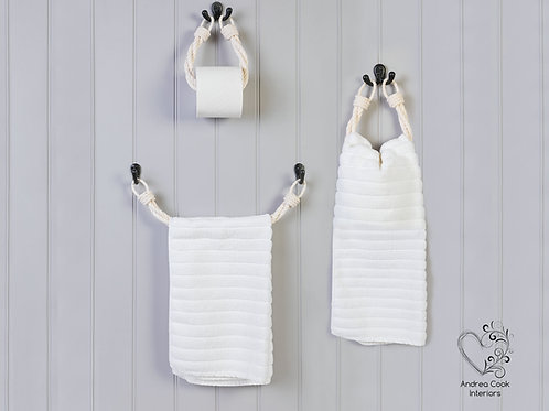 Full Set of Twisted White Toilet Roll Holder, Towel Rail and Towel Rail