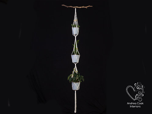 Three Level Macrame Plant Pot Hanger - Flower Pot Hanger, Plant Hanger