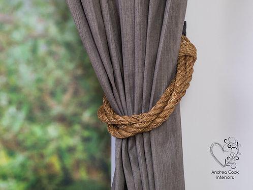 Extra Thick Three Lengths of  Twisted Manila Rope Curtain Tiebacks, Holdbacks