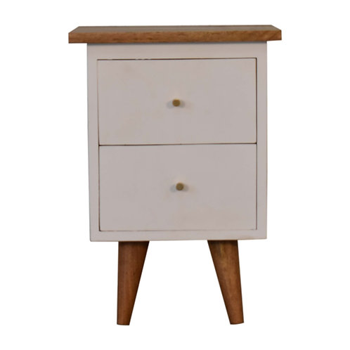 White Hand Painted Bedside Table