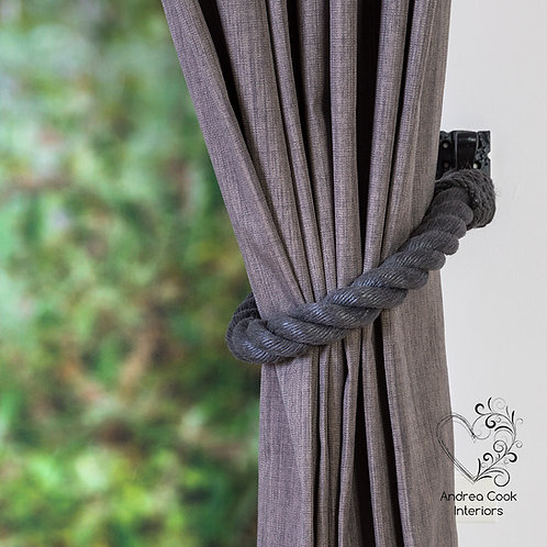 Chunky Charcoal Grey Tiebacks - Curtain Tie Backs, Curtain Holdbacks