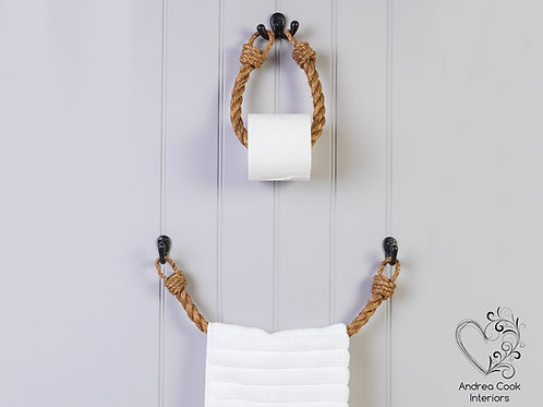 Set of Chunky Manila Rope Toilet Roll Holder and Towel Rail