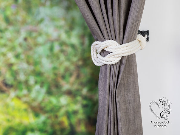 Double square knot curtain tieback made from ivory white rope
