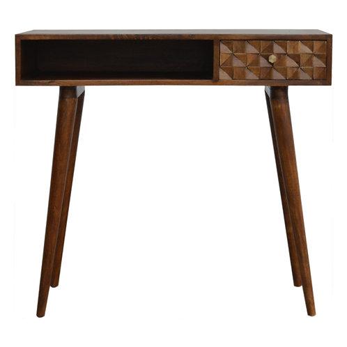 Chestnut Diamond Carved Writing Desk