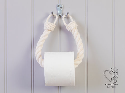 Chunky Ivory White Rope Toilet Roll Holder - Toilet Paper Holder