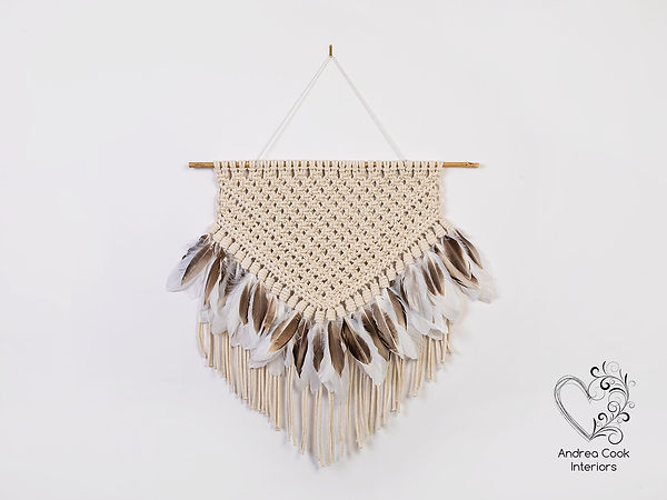 Feather Macrame with brown and white feathers
