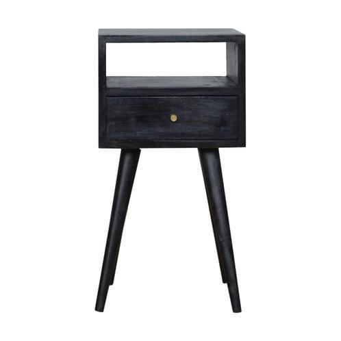 Mini Ash Black Finish Bedside Table