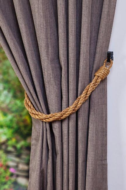 Medium Twisted Manila Rope Rustic Thick Twist Curtain Tiebacks, Holdbacks
