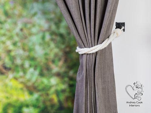 Ivory White Twisted Tie Backs - Nautical Holdbacks, Curtain Tieback, Tie Back
