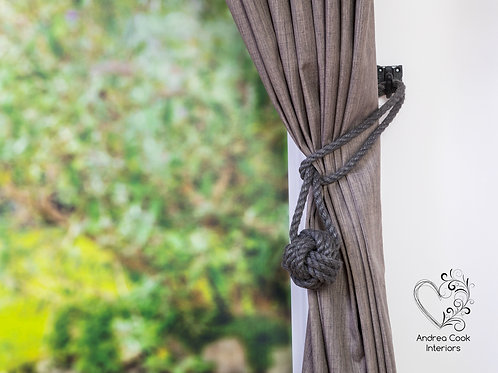 Medium Charcoal Grey Monkey Fist Knot - Curtain Tie Backs