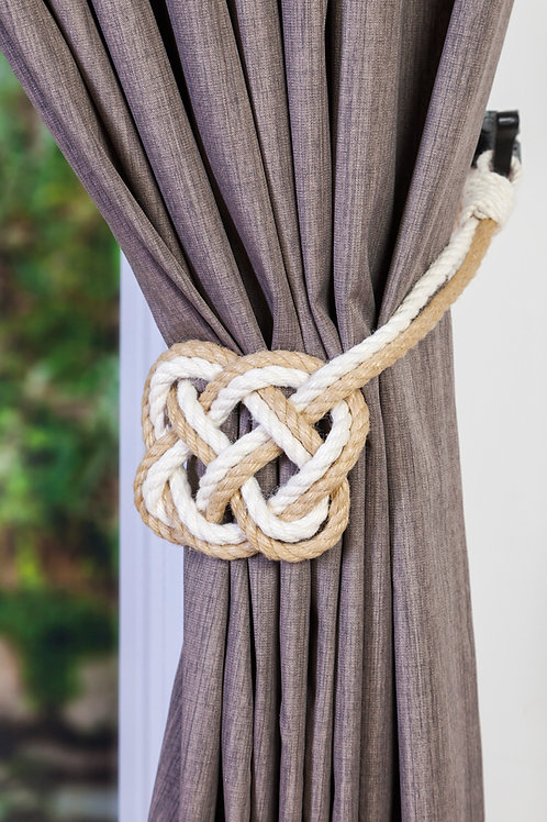 Celtic Heart Curtain Tiebacks - Two Tone Cotton and Hemp Rope Tie Back Hold back