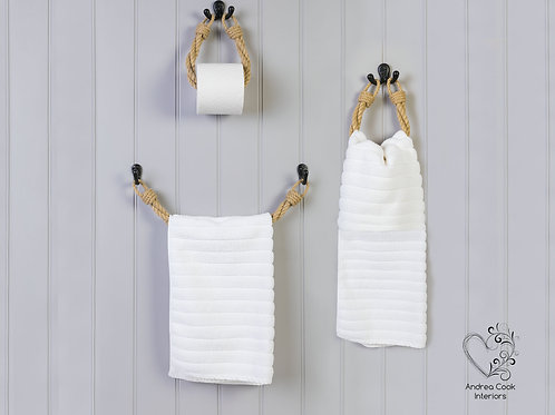 Full Set of Twisted Beige Rope Toilet Roll Holder, Towel Rail and Towel