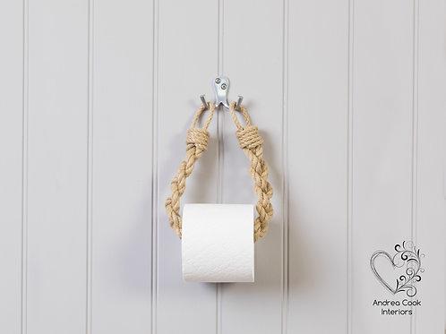 Chunky Braided Beige Rope Toilet Roll Holder - Toilet Paper Holder