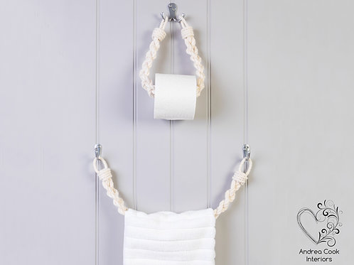 Set of Chunky Braided White Toilet Roll Holder and Towel Rail
