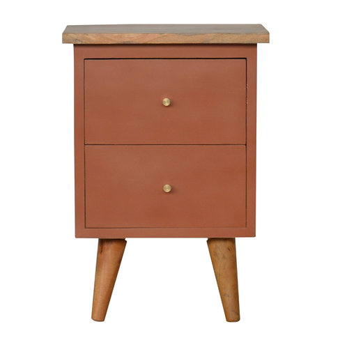 Brick Red Hand Painted Bedside Table