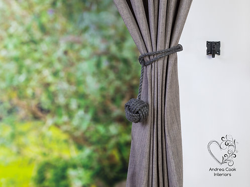 Small Charcoal Grey Spliced Monkey Fist Curtain Tiebacks, Tie Back, Hold Back