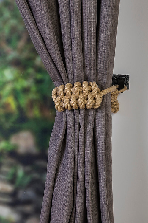 Beige Cotton Rope Knot Holdback - Nautical Curtain Tie Back, Holdback, Hold back