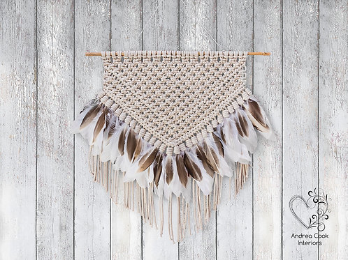 Handmade Macrame with natural white and brown feathers