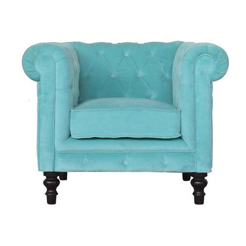 Aqua Blue Velvet Chesterfield Armchair