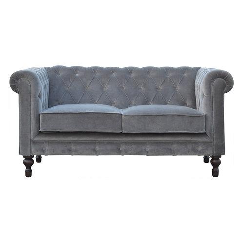 Grey Velvet Chesterfield 2 Seater Sofa