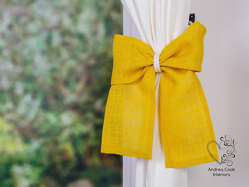 Mustard Yellow Burlap Bow On An Ivory White Tieback, Curtain Holdback, Hold back