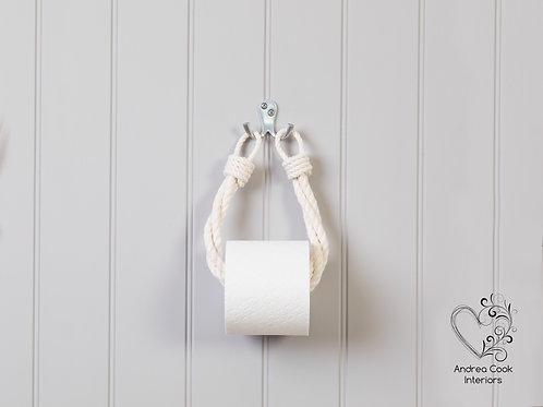 Ivory White Twisted Rope Toilet Roll Holder - Toilet Paper Holder