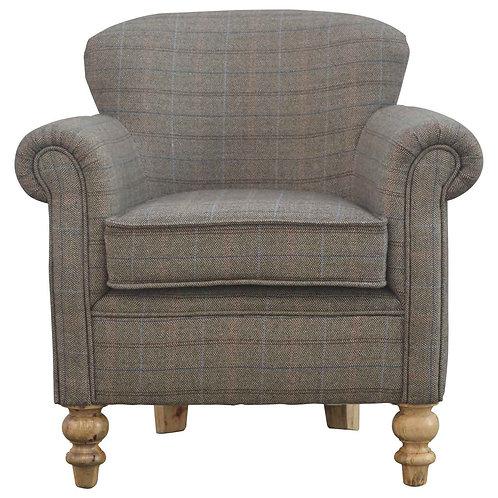 Multi Tweed Armchair with Turned Feet