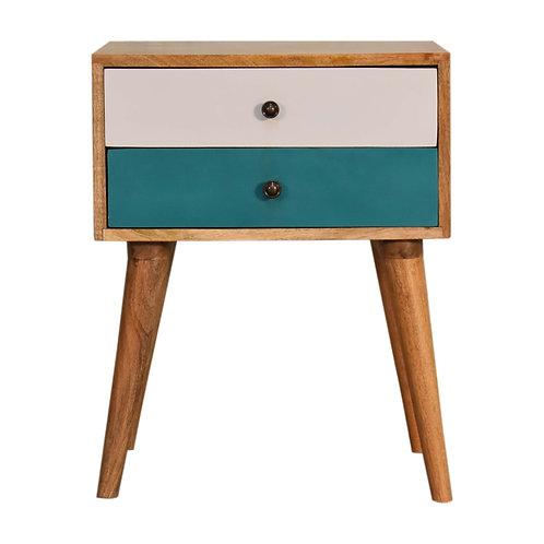 Teal Modern Solid Wood Bedside Table
