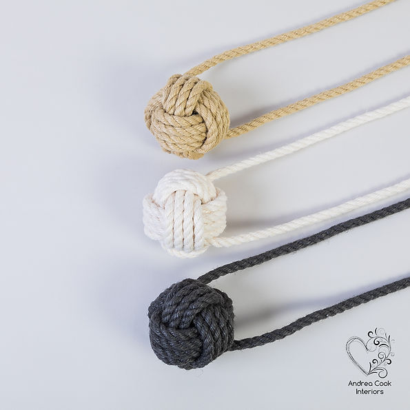 three monkey fist curtain tiebacks in beige ivory white and charcoal