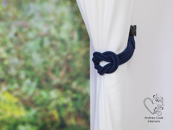 Navy blue double square knot curtain tieback