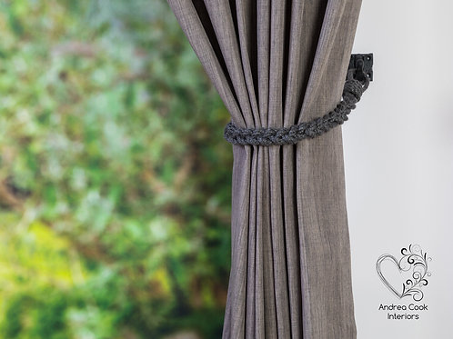 Slim Charcoal Grey Braided Rope Tiebacks - Braided Holdbacks, Hold back Tie Back