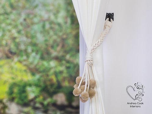 Ivory White Pom Pom Curtain Tiebacks