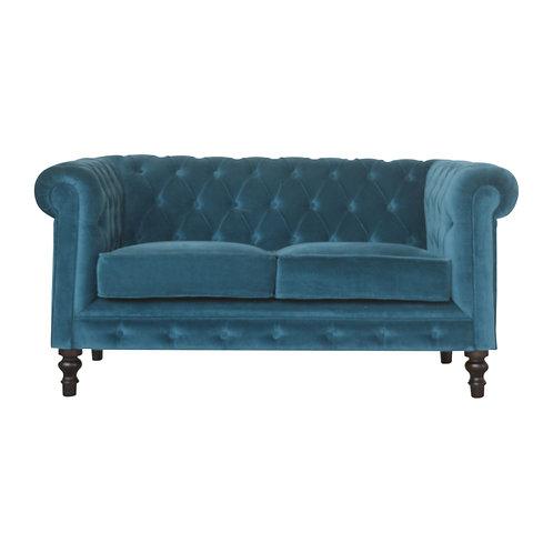 Teal Velvet Chesterfield 2 Seater Sofa