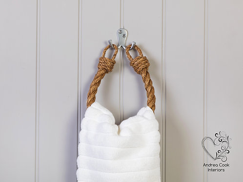 Chunky Manila Rope Hand Towel Holder - Nautical Bathroom Decor, Towel Ra