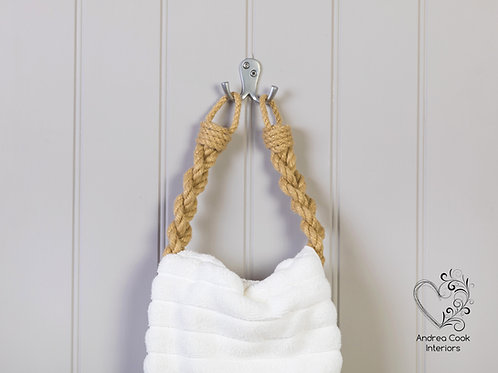 Beige Chunky Braided Rope Hand Towel Holder - Towel Rail