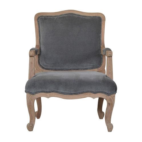Grey Velvet French Style Chair