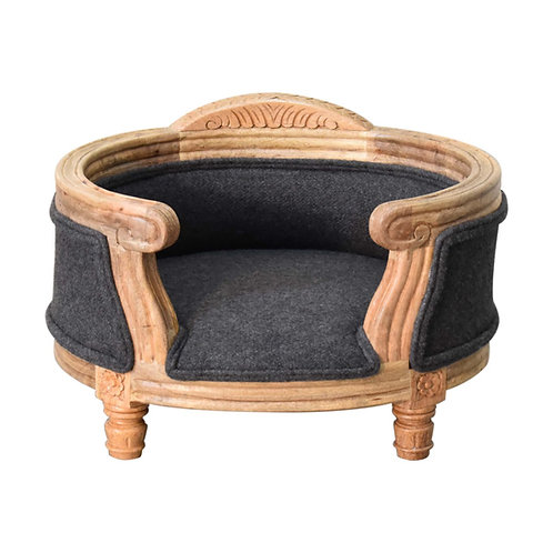 Carved Battleship Tweed Pet Bed