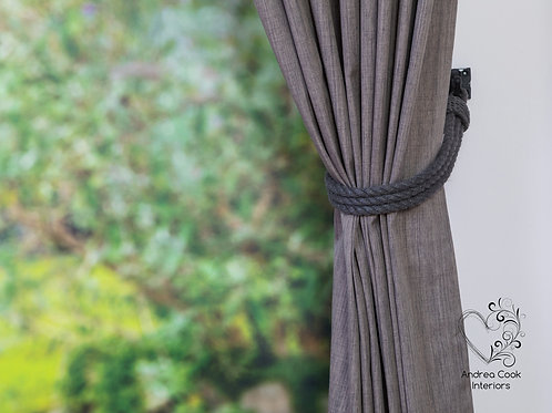 Charcoal Grey Simple Three Strand Curtain Tiebacks, Curtain Tie Back