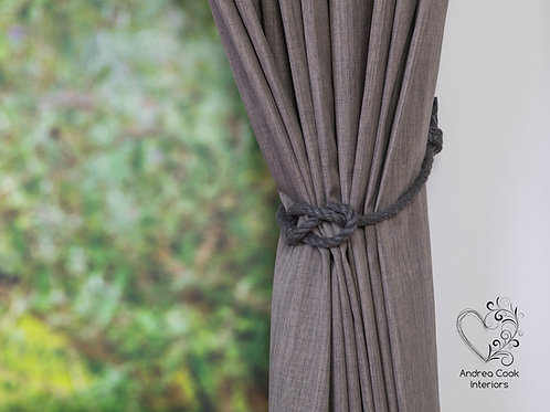 Charcoal Grey Simple Nautical Knot Curtain Tieback - Tie Back, Holdbacks