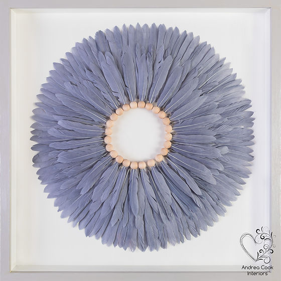 Grey feather unique modern wall art with a feather circle in a grey and white box frame