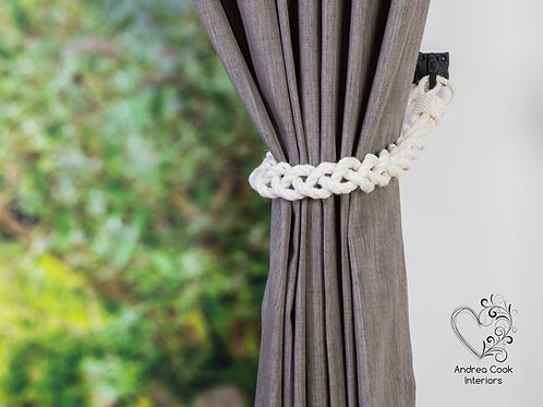 Chunky Ivory White Cotton Rope Tiebacks -  Braided Curtain Tie Backs