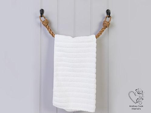 Chunky Manila Rope Towel Rail -  Nautical Rope Towel Holder