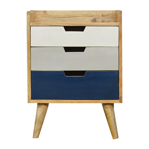 Navy and White Gradient Bedside Table