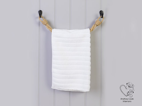 Twisted Beige Rope Towel Rail - Rope Towel Holder