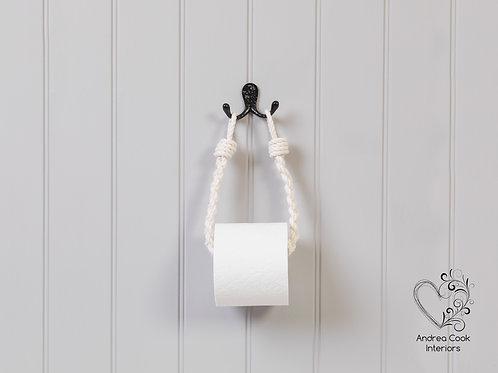 Slim Braided Ivory White Rope Toilet Roll Holder - Toilet Paper Holder