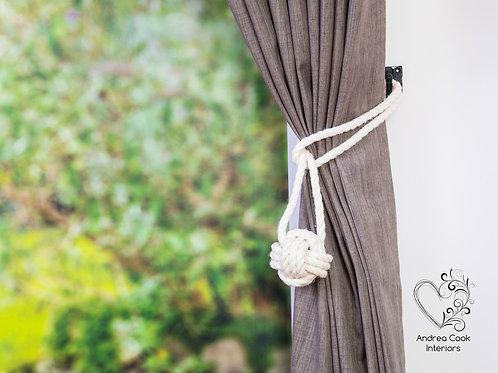Medium Ivory White Monkey Fist Knot - Curtain Tie Backs, Holdbacks, Hold Back