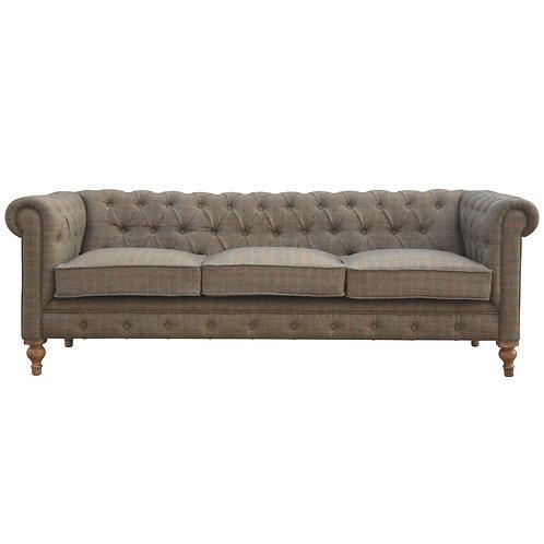 Multi Tweed 3 Seater Chesterfield Sofa