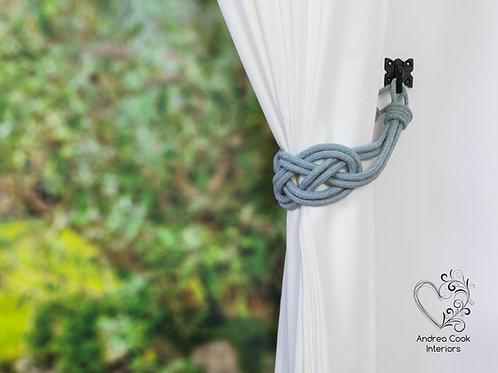Large Light Grey Cotton Cord Carrick Bend Knot, Tie back, Tiebacks, Holdbacks