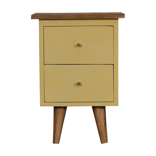 Yellow Hand Painted Bedside Table